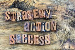 Strategy action success wooden letters. Letterpress wood text type letters block stategy action success businnes planning concept wooden rough texture board royalty free stock image