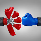 Strategy Advantage. And business competitiveness concept as a red boxing glove opening up to a secret weapon to reveal multiple team members to compete with stock illustration