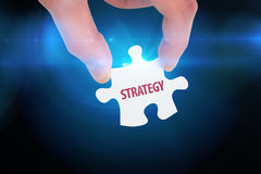Strategy  against blue background with vignette Royalty Free Stock Photos