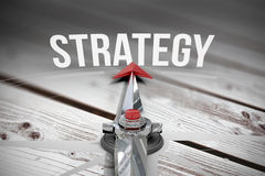 Strategy against digitally generated grey wooden planks Royalty Free Stock Images