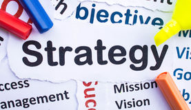 Strategy Banner. Text `Strategy`,paper cut Stock Photos
