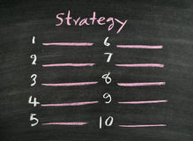 Strategy on blackboard Royalty Free Stock Photo