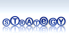 Strategy in blue circles. 3d blue white circles with text strategy Stock Image