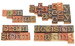 Strategy, brainstorm and decision making. Open mind, strategy, brainstorm and decision making - collage of words and phrases, vintage wooden letterpress printing Stock Photo
