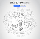Strategy Building concept with Doodle design style Royalty Free Stock Photos