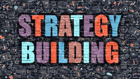 Strategy Building Concept. Multicolor on Dark Brickwall. Royalty Free Stock Photo