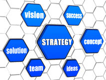 Strategy and business concept words in blue hexagons. Strategy and business concept words in 3d blue hexagons in cellular structure Stock Photo