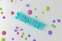 Strategy, business conceptual colorful 3D rendered words. Abstract, rendering, caption & digital. Strategy, business conceptual colorful 3D rendered words. CGI stock illustration