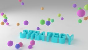 Strategy, business conceptual colorful 3D rendered words. Rendering, communication, wallpaper & creativity. Strategy, business conceptual colorful 3D rendered stock illustration