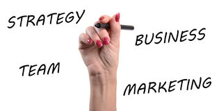 Strategy, business, team, marketing written with a black felt pe Stock Photo