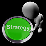 Strategy Button Shows Business Solution Or Management Goal Royalty Free Stock Photos