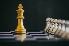 Strategy chess battle Intelligence challenge game on chessboard. Royalty Free Stock Image