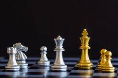Strategy chess battle Intelligence challenge game on chessboard. Success the strategy concept. Chess business leader and success idea. Chess strategy game stock photo