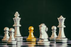 Strategy chess battle Intelligence challenge game on chessboard. Stock Photos