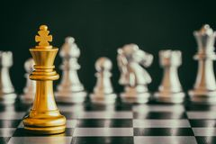 Strategy chess battle Intelligence challenge game on chessboard. Royalty Free Stock Photography