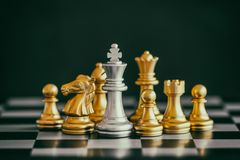 Strategy chess battle Intelligence challenge game on chessboard. Success the strategy concept. Chess business leader and success idea. Chess strategy game royalty free stock photos