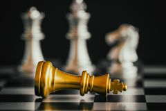 Strategy chess battle Intelligence challenge game on chessboard. Royalty Free Stock Images