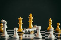 Strategy chess battle Intelligence challenge game on chessboard. Success the strategy concept. Chess business leader and success idea. Chess strategy game stock photography