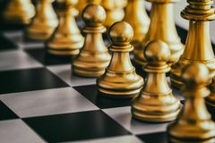Strategy chess battle Intelligence challenge game on chessboard. Success the strategy concept. Chess business leader and success idea. Chess strategy game stock photos