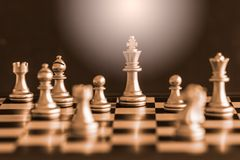 Strategy chess battle Intelligence challenge game on chessboard. Stock Photo