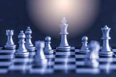Strategy chess battle Intelligence challenge game on chessboard. Royalty Free Stock Photo