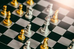Strategy chess battle Intelligence challenge game on chessboard. Stock Images