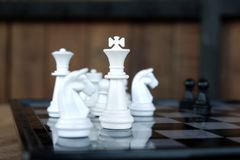 Strategy chess battle Intelligence challenge game on chessboard. Success the chess strategy concept. Chess business leader and success idea. Chess strategy stock image