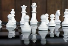 Strategy chess battle Intelligence challenge game on chessboard. Success the chess strategy concept. Chess business leader and success idea. Chess strategy royalty free stock photography