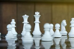 Strategy chess battle Intelligence challenge game on chessboard. Success the chess strategy concept. Chess business leader and success idea. Chess strategy stock images