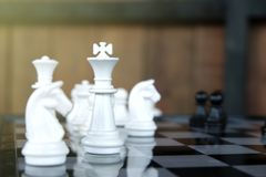 Strategy chess battle Intelligence challenge game on chessboard. Success the chess strategy concept. Chess business leader and success idea. Chess strategy royalty free stock photos