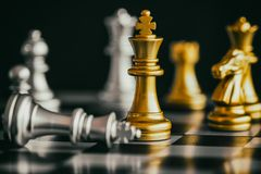 Strategy chess battle Intelligence challenge game on chessboard. Success the strategy concept. Chess business leader and success idea. Chess strategy game stock image