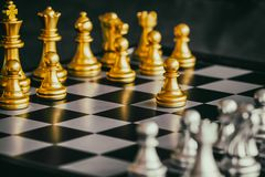 Strategy chess battle Intelligence challenge game on chessboard. Success the strategy concept. Chess business leader and success idea. Chess strategy game Royalty Free Stock Photography