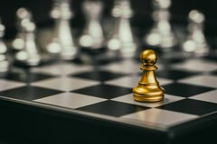 Strategy chess battle Intelligence challenge game on chessboard. Success the strategy concept. Chess business leader and success idea. Chess strategy game Royalty Free Stock Image
