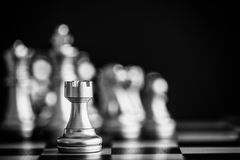 Strategy chess battle Intelligence challenge game on chessboard. Success the strategy concept. Chess business leader and success idea. Chess strategy game Stock Images