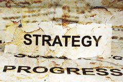 Strategy. CLose up of grunge Strategy Stock Photos