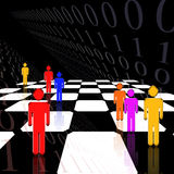 Strategy Code. Striking image of figures on a chessboard and binary code Vector Illustration