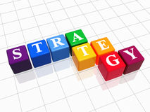 Strategy in colour 2. 3d colour boxes with text - strategy, word Royalty Free Stock Photo