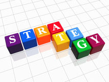 Strategy in colour. 3d colour boxes with text - strategy, word Stock Images