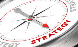 Strategy. Compass with needle pointing the word strategy. Conceptual illustration for sales strategies management. Business concept royalty free illustration