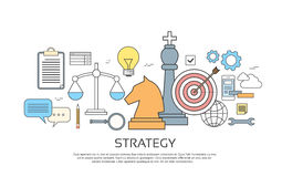 Strategy Concept Banner Set Icon Thin Line. Vector Illustration Royalty Free Stock Photo
