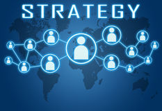 Strategy. Concept on blue background with world map and social icons Stock Photography