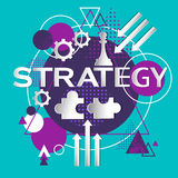 Strategy Concept Business Idea Icon Flat. Strategy Concept Business Idea Icon Abstract Background Flat Vector Illustration Royalty Free Stock Image