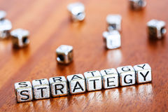 Strategy concept business marketing letters placed on a desk in Royalty Free Stock Photography