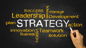 Strategy concept. With business words on blackboard Stock Photo