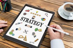 Strategy Concept with Digital Tablet Screen. On Work Desk stock images
