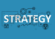 Strategy concept flat line design with icons and elements. Modern strategy concept s collection. Strategy concept lettering Stock Photography