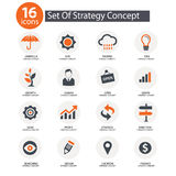 Strategy Concept icons,. Orange version Royalty Free Stock Image