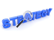 Strategy concept with magnifying glass. 3d render of strategy concept with magnifying glass stock illustration
