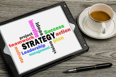 strategy concept on touch screen Royalty Free Stock Images