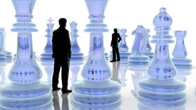 Strategy concept. Two business men playing chess. Royalty Free Stock Image